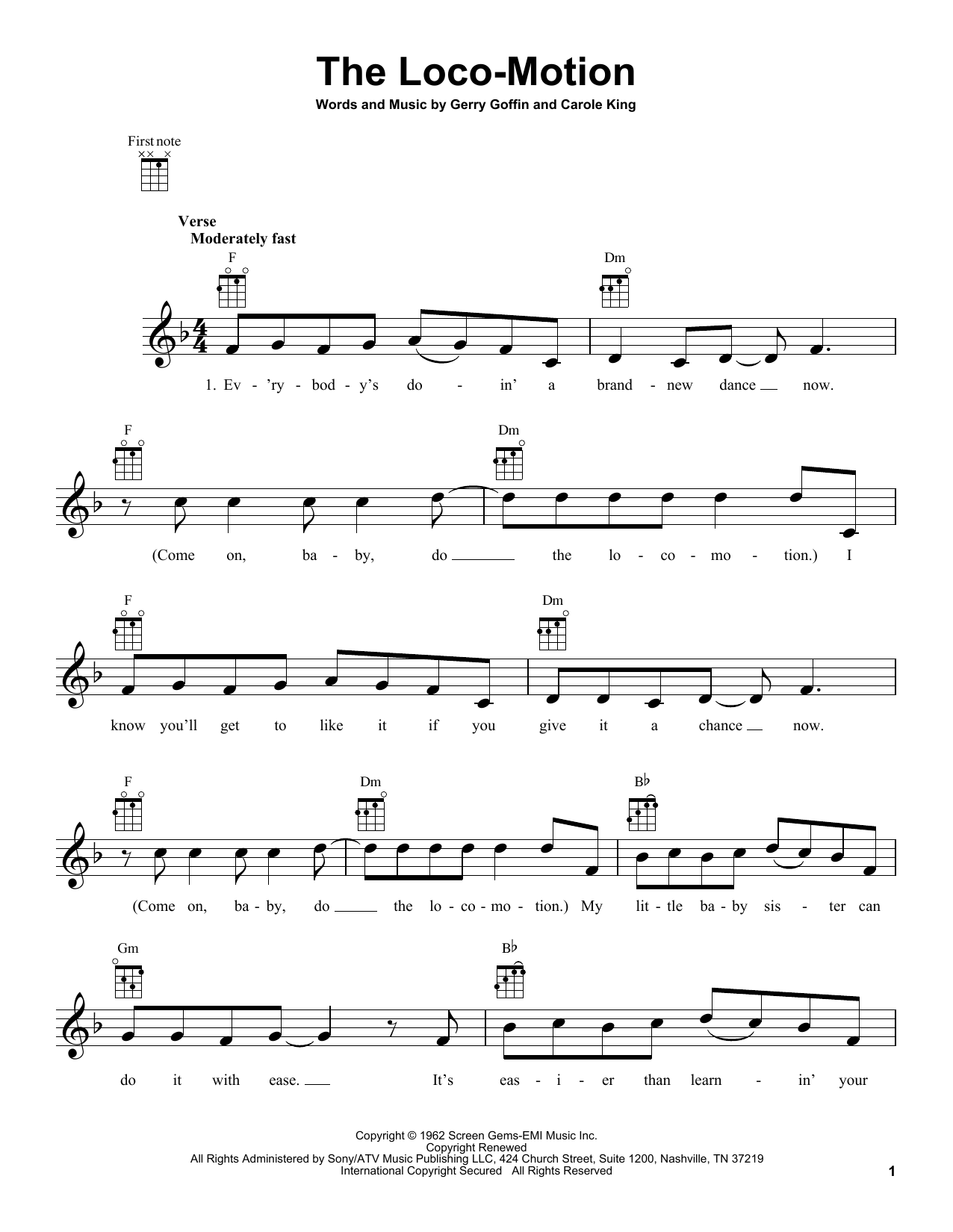 Tablature guitare The Loco-Motion de Little Eva - Ukulele