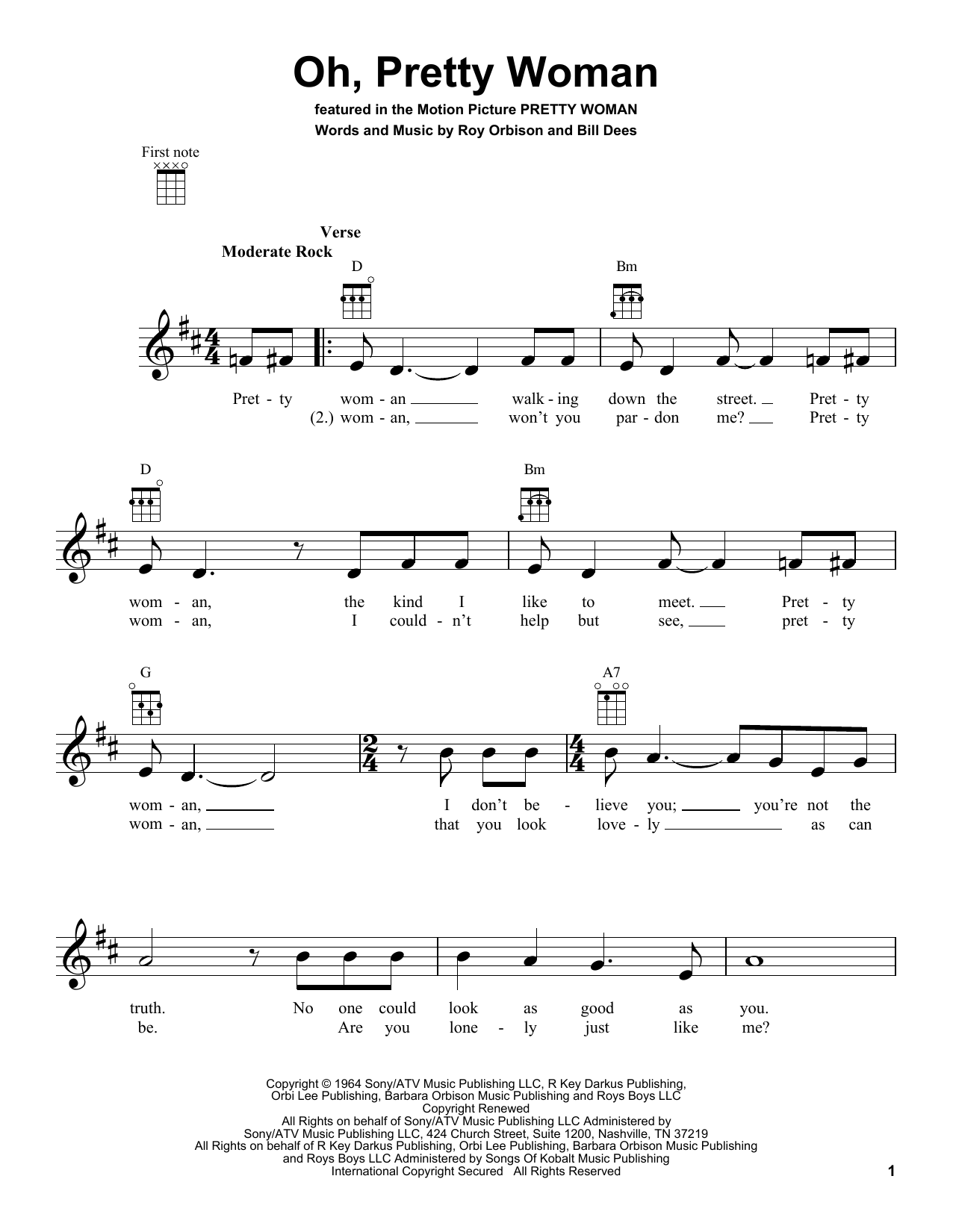 Tablature guitare Oh, Pretty Woman de Roy Orbison - Ukulele