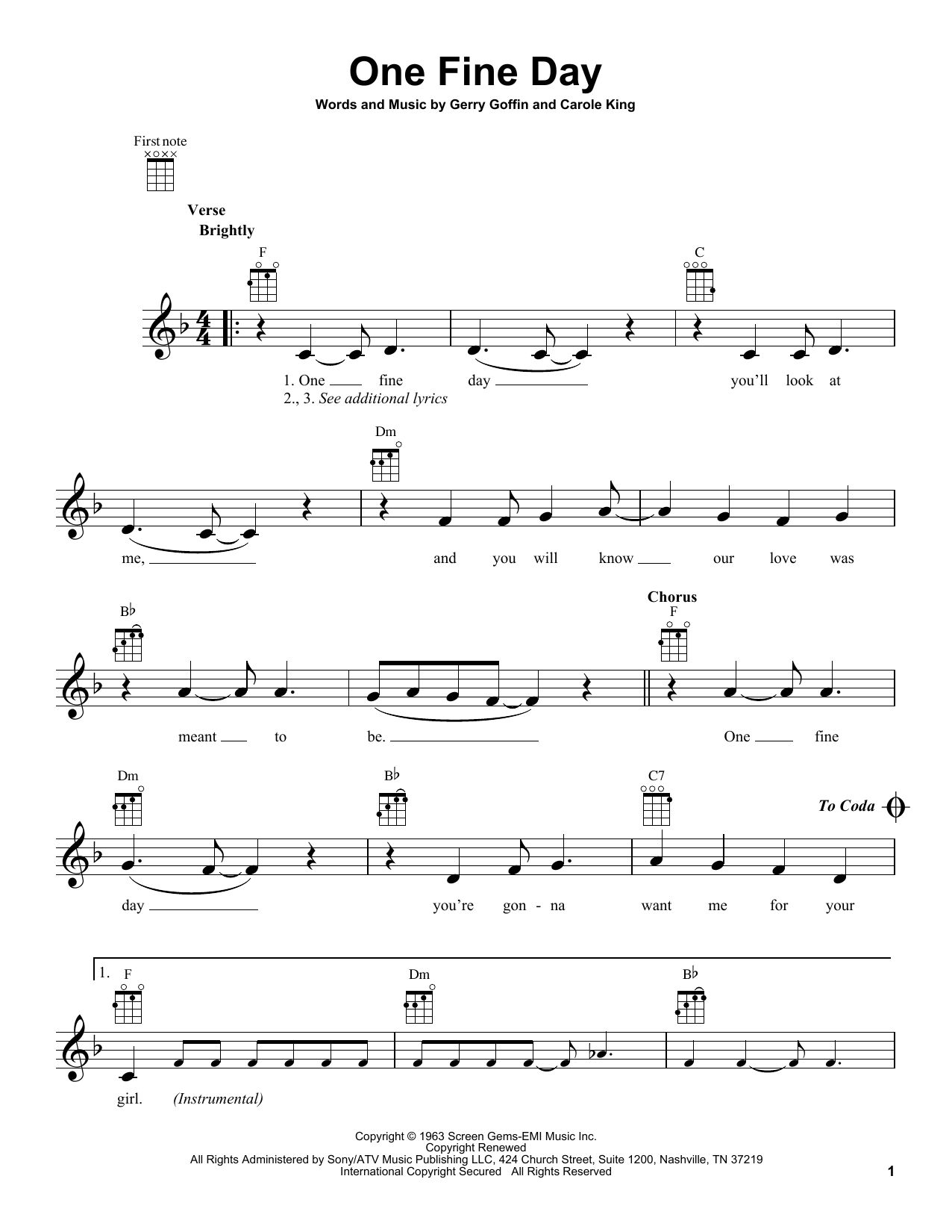 Tablature guitare One Fine Day de The Chiffons - Ukulele