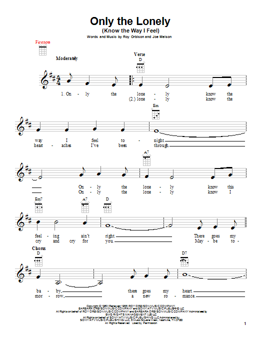 Tablature guitare Only The Lonely (Know The Way I Feel) de Roy Orbison - Ukulele