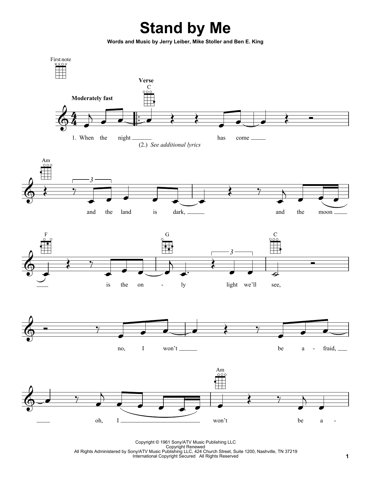 Tablature guitare Stand By Me de Ben E. King - Ukulele