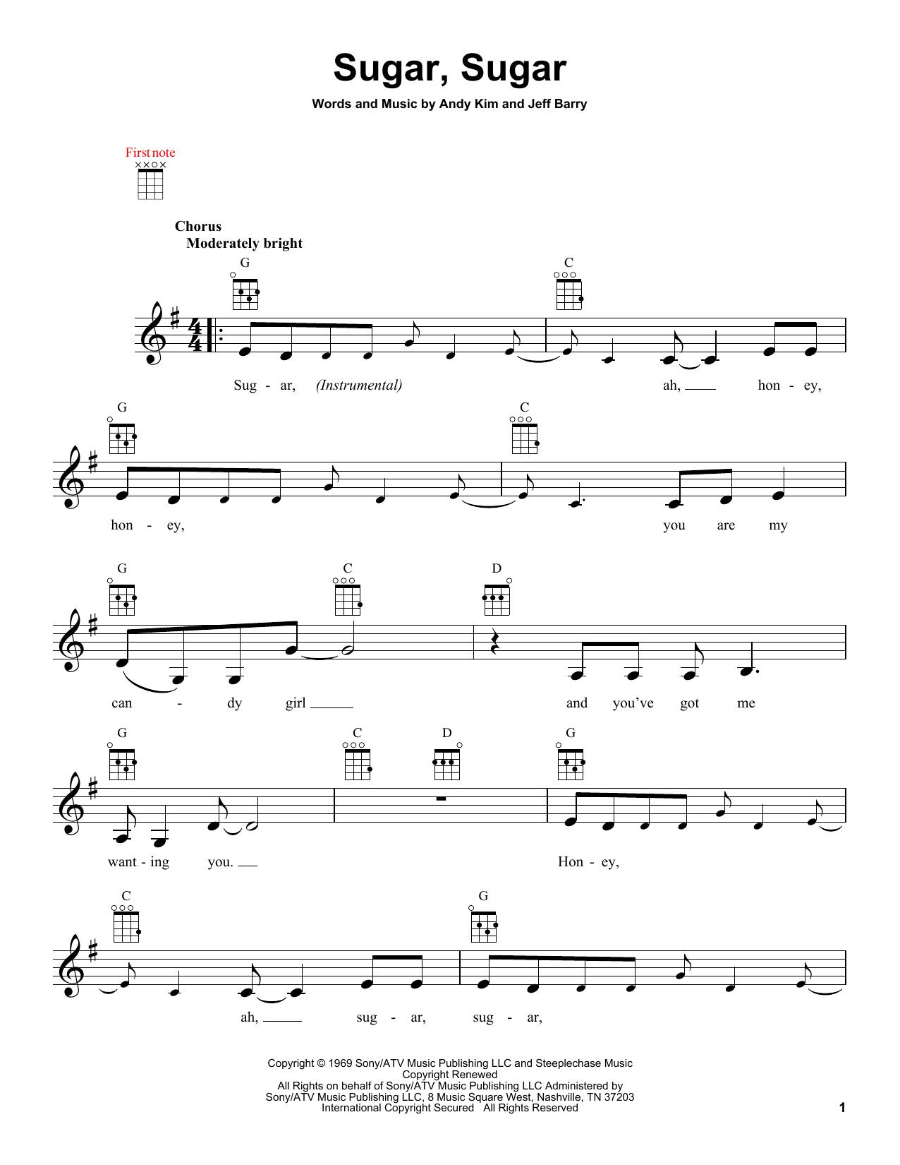 Sugar, Sugar sheet music by The Archies (Ukulele u2013 151809)