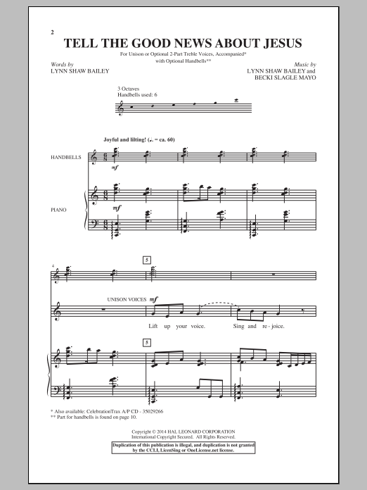Tell The Good News About Jesus Sheet Music