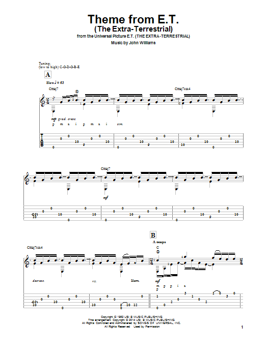 Theme From E.T. (The Extra-Terrestrial) (arr. Ben Woolman) (Solo Guitar Tab)