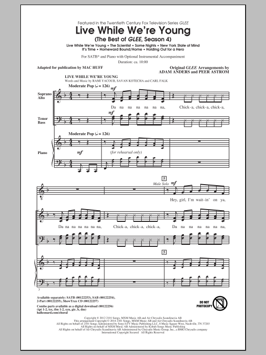 Live While We're Young (The Best of Glee Season 4) (arr. Mac Huff) Sheet Music