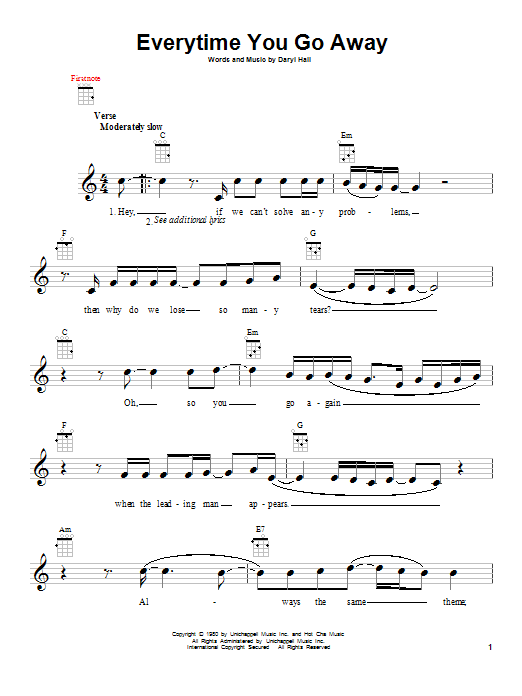 Everytime You Go Away Sheet Music
