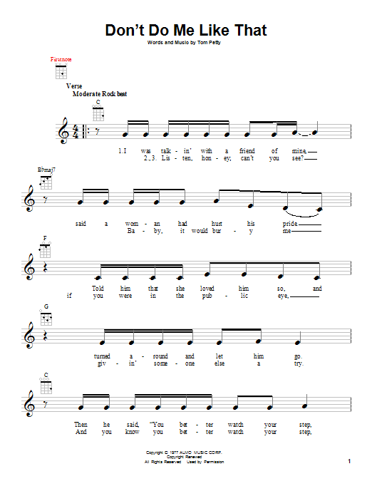 Tablature guitare Don't Do Me Like That de Tom Petty - Ukulele