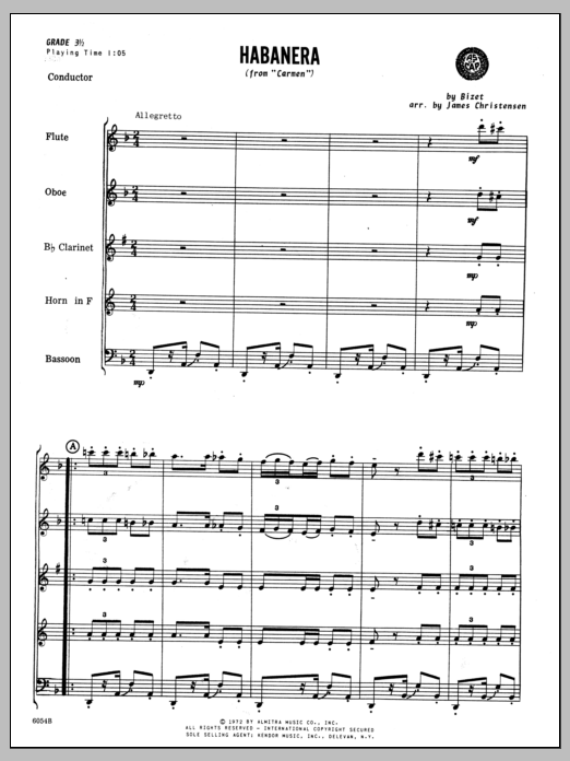 Habanera (from Carmen) (COMPLETE) sheet music for wind quintet by Christensen and Georges Bizet. Score Image Preview.