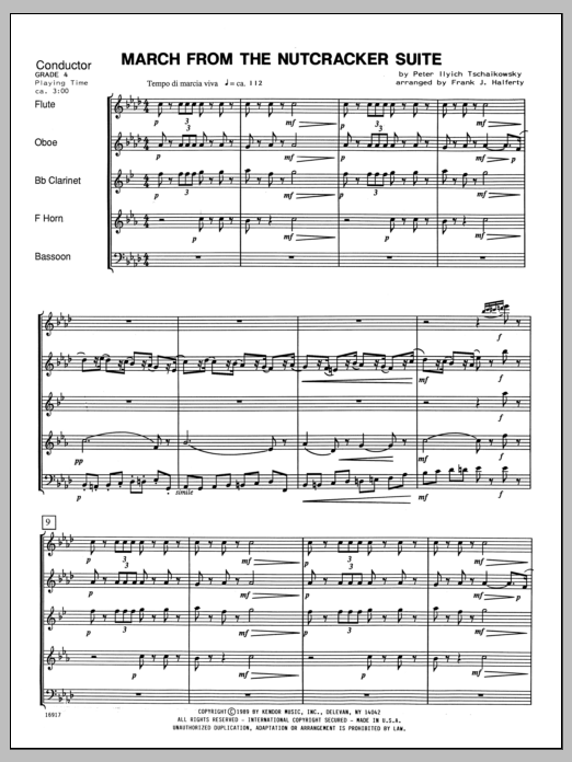 March From The Nutcracker Suite (COMPLETE) sheet music for wind quintet by Halferty and Pyotr Ilyich Tchaikovsky. Score Image Preview.