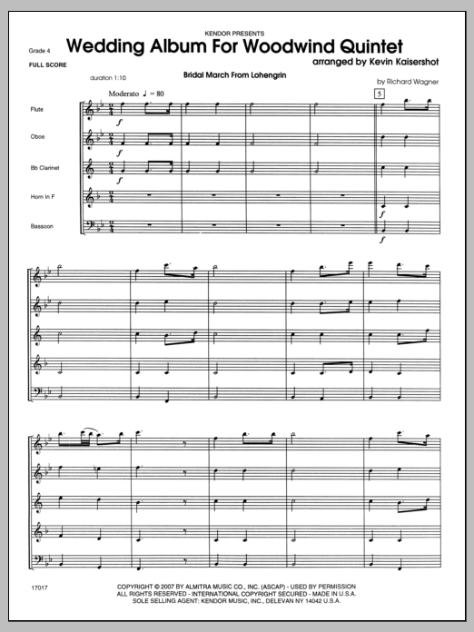 Wedding Album For Woodwind Quintet (COMPLETE) sheet music for wind quintet by Kaisershot. Score Image Preview.