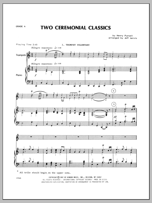 Two Ceremonial Classics (complete set of parts) sheet music for four trumpets and piano by Henry Purcell and Jarvis. Score Image Preview.