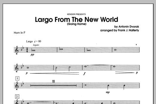 Largo From The New World (Going Home) - Horn in F Sheet Music