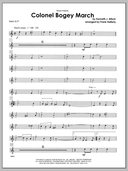 Colonel Bogey March - Horn in F Sheet Music