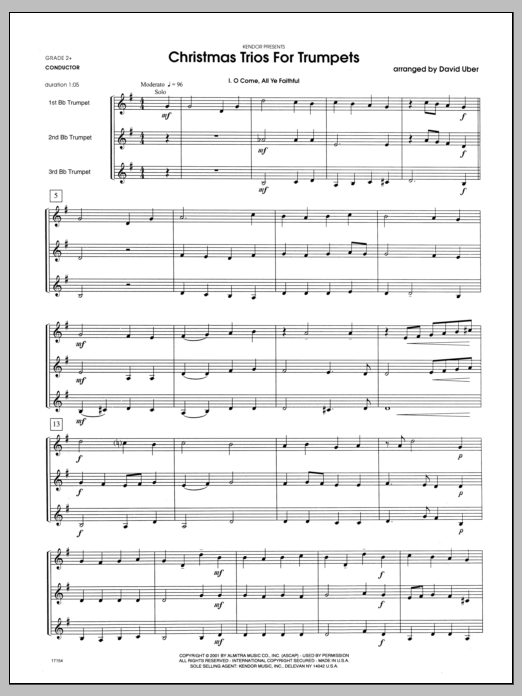 Christmas Trios For Trumpets (COMPLETE) sheet music for three trumpets by Uber. Score Image Preview.