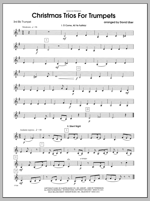 Christmas Trios For Trumpets - 3rd Bb Trumpet Sheet Music