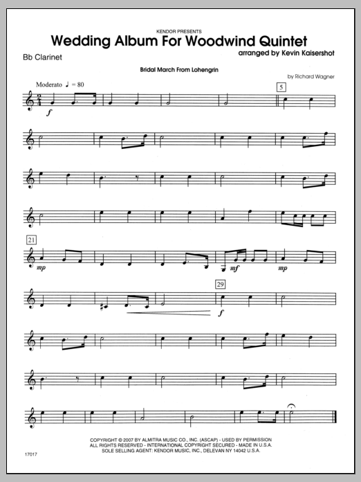 Wedding Album For Woodwind Quintet - Bb Clarinet Sheet Music
