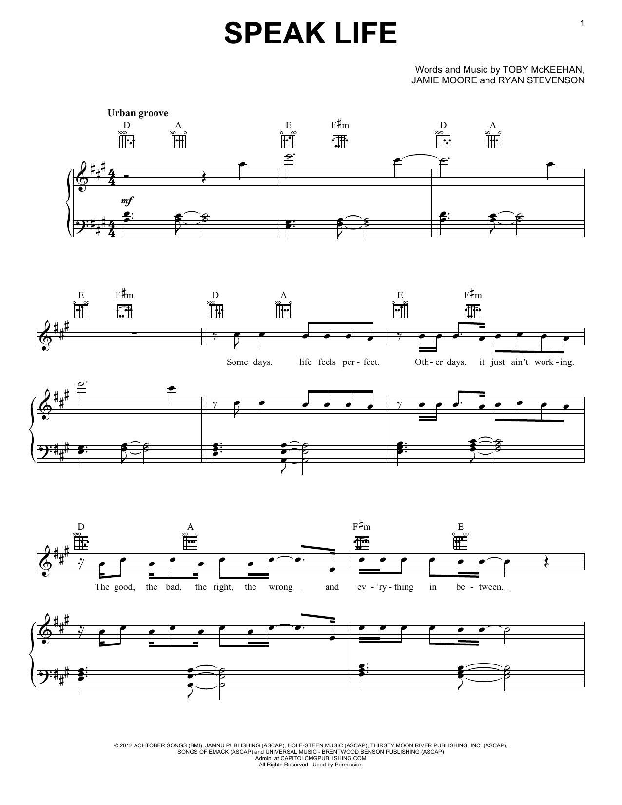 Speak Life (Piano, Vocal & Guitar (Right-Hand Melody))