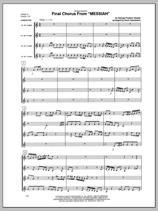 Final Chorus From 'Messiah' (Blessing And Honour,Glory And Power Unto Him) (COMPLETE) sheet music for four trumpets by George Frideric Handel and Kaisershot. Score Image Preview.