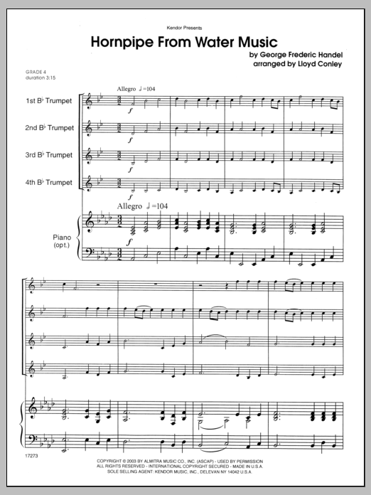 Hornpipe From Water Music (COMPLETE) sheet music for four trumpets and piano by George Frideric Handel and Conley. Score Image Preview.