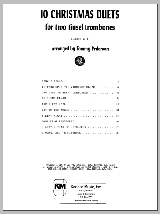 10 Christmas Duets For Two Tinsel Trombones Sheet Music