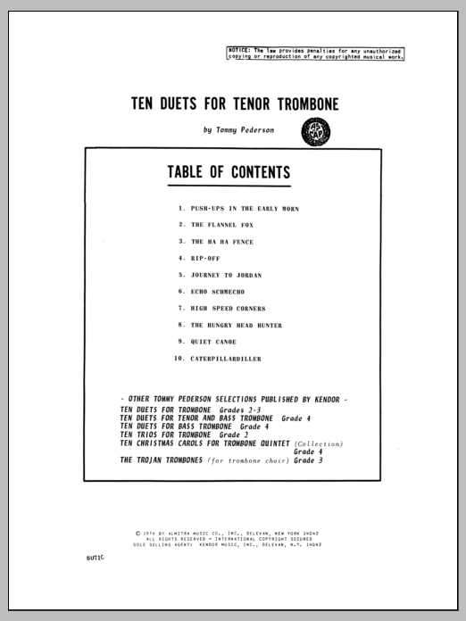 Ten Duets For Tenor Trombone Sheet Music
