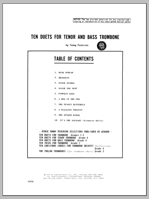 Ten Duets For Tenor And Bass Trombone Sheet Music