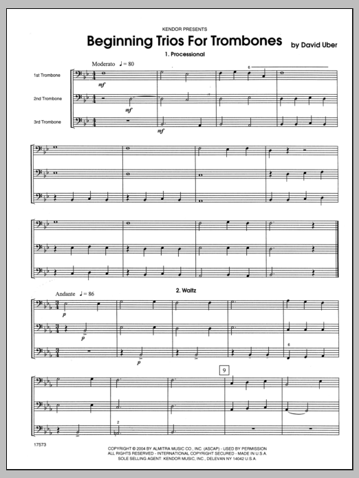 Beginning Trios For Trombones (COMPLETE) sheet music for three trombones by Uber. Score Image Preview.
