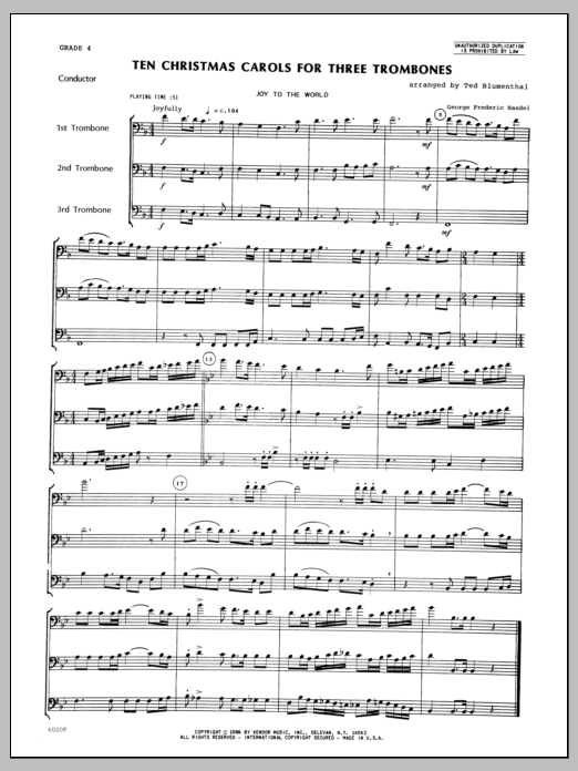 Ten Christmas Carols For 3 Trombones (COMPLETE) sheet music for three trombones by Blumenthal. Score Image Preview.