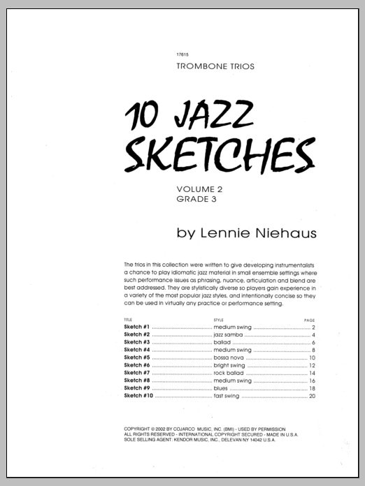 10 Jazz Sketches, Volume 2 (Brass Ensemble)