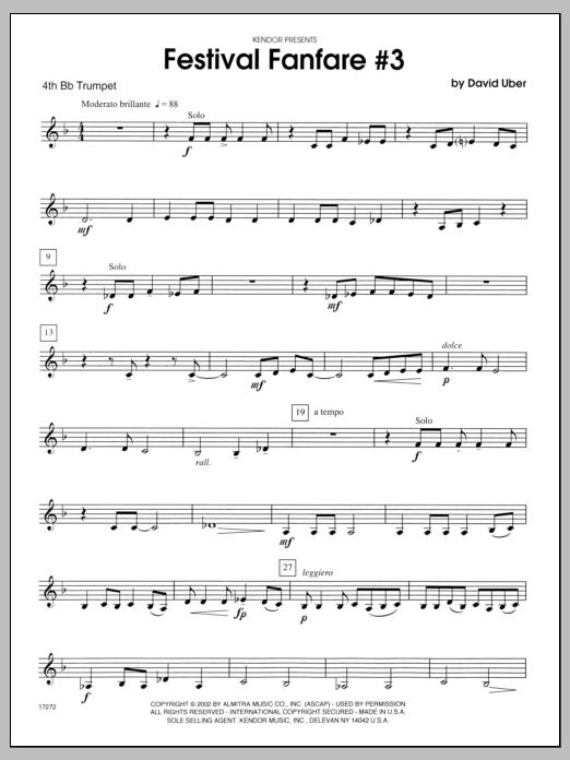 Festival Fanfare #3 - 4th Bb Trumpet Sheet Music