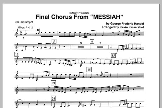 Final Chorus From 'Messiah' (Blessing And Honour,Glory And Power Unto Him) - 4th Bb Trumpet Sheet Music