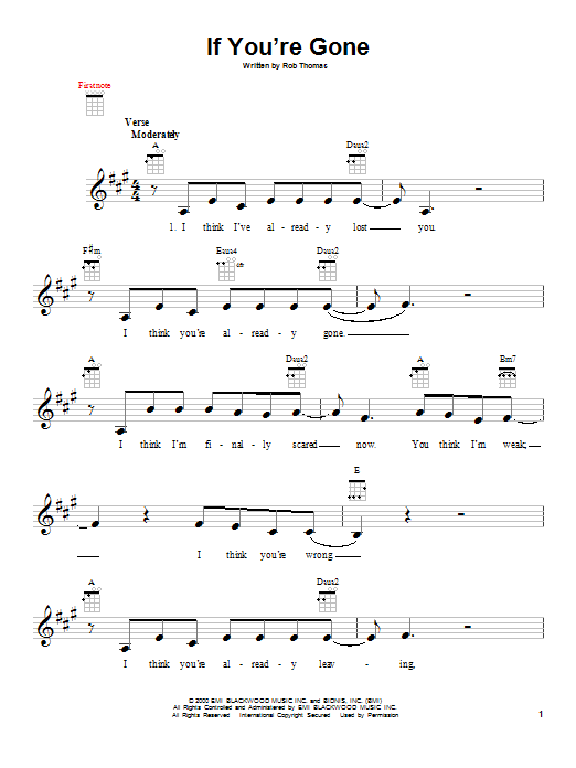 If You're Gone Sheet Music