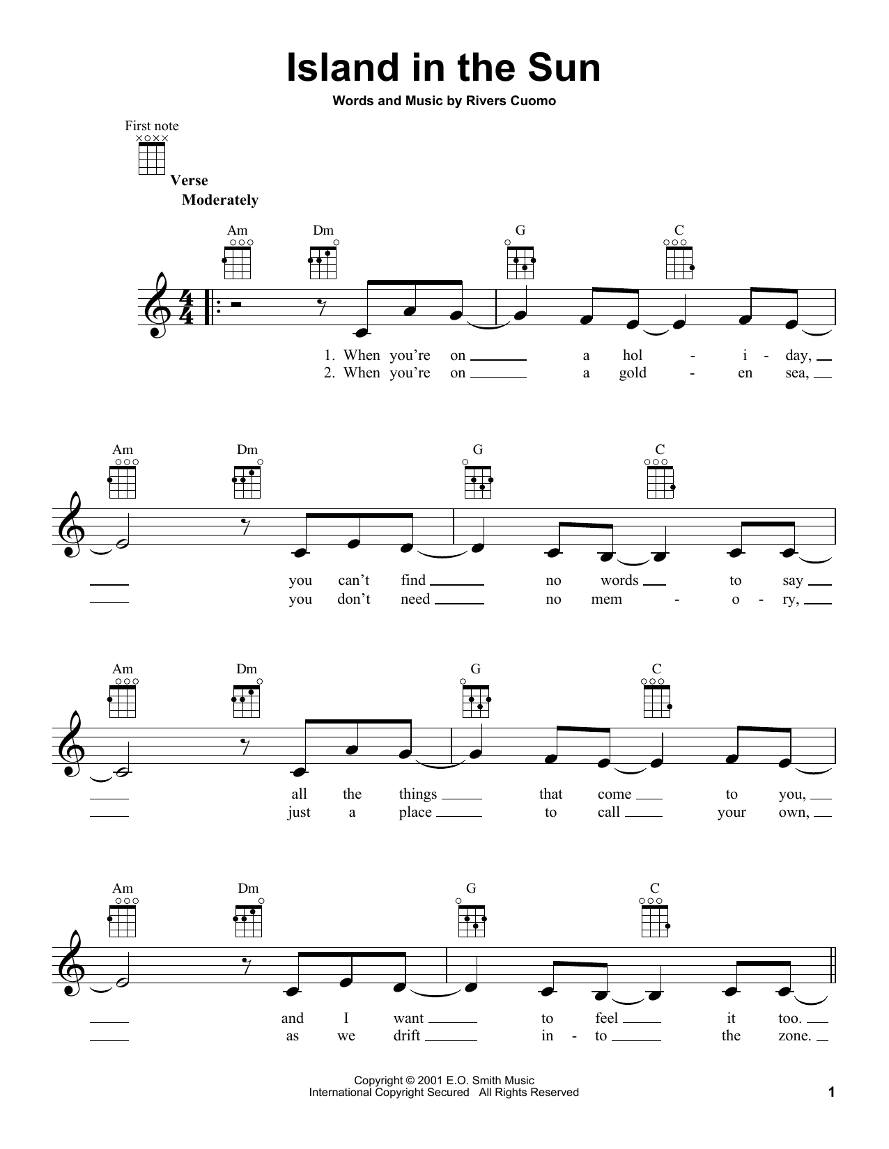 Tablature guitare Island In The Sun de Weezer - Ukulele