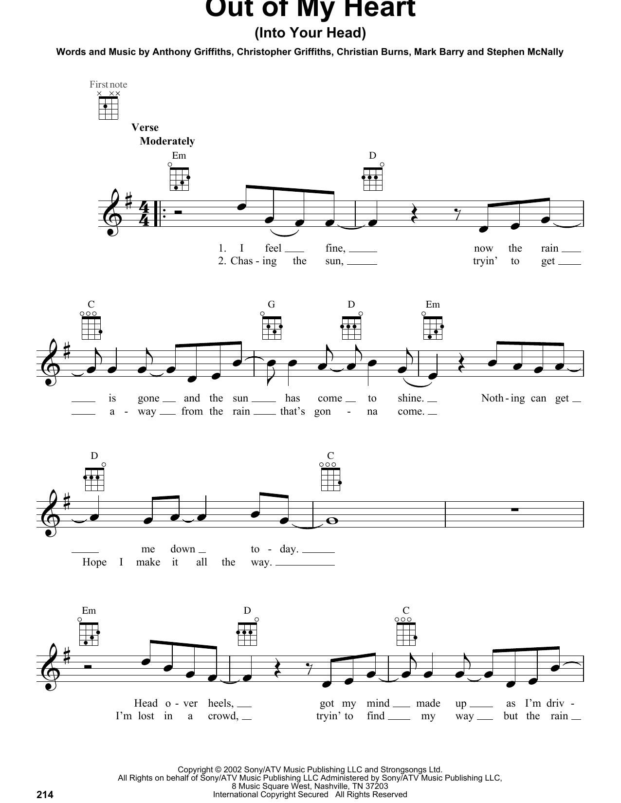 Out Of My Heart (Into Your Head) Sheet Music