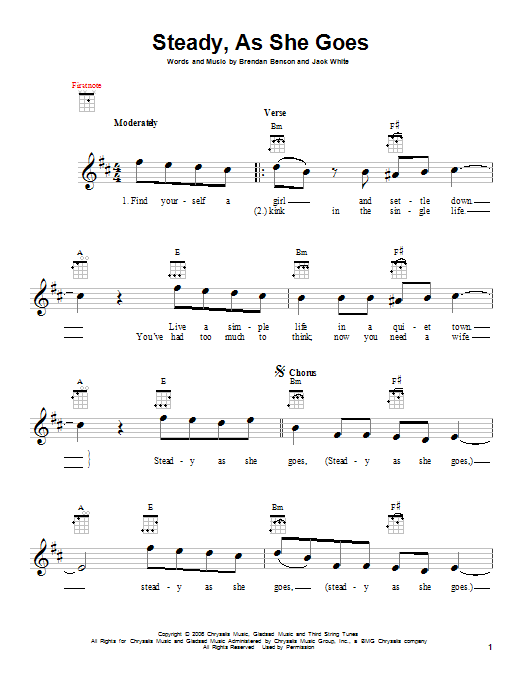 Tablature guitare Steady, As She Goes de The Raconteurs - Ukulele