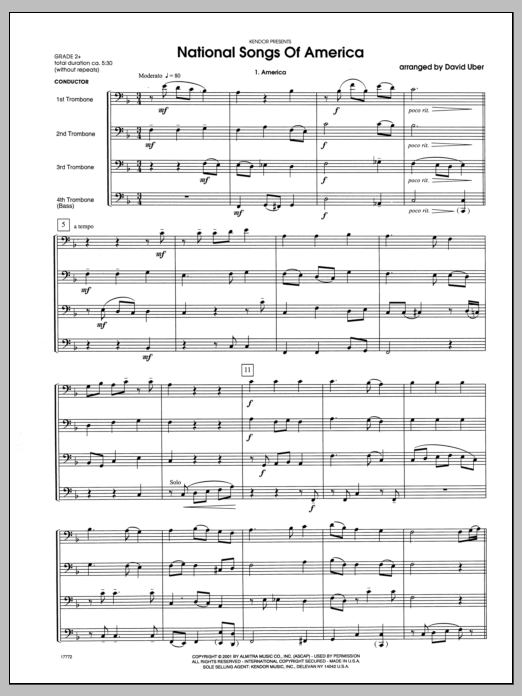 National Songs Of America (COMPLETE) sheet music for four trombones by Uber. Score Image Preview.