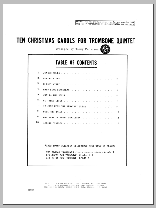 Ten Christmas Carols For Trombone Quintet - 4th Trombone Sheet Music