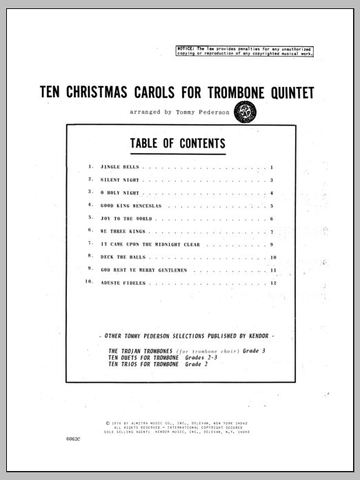 Ten Christmas Carols For Trombone Quintet - Bass Trombone Sheet Music