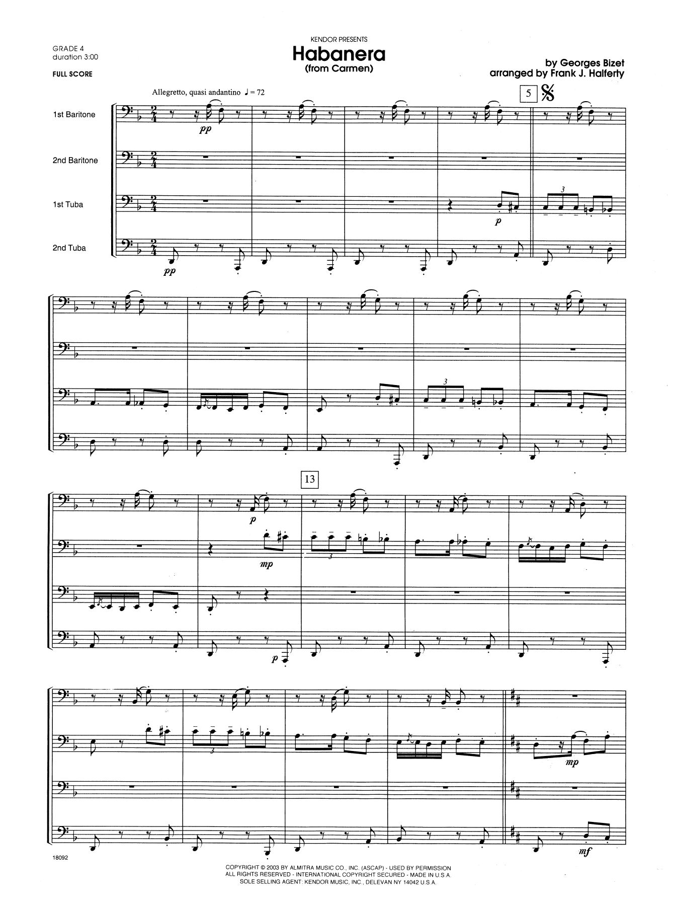Habanera (from Carmen) (COMPLETE) sheet music for two tubas by Halferty and Georges Bizet. Score Image Preview.