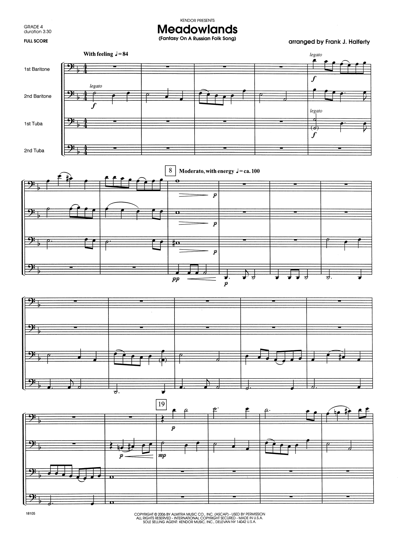 Meadowlands (Fantasy On A Russian Folk Song) (COMPLETE) sheet music for two tubas by Halferty. Score Image Preview.