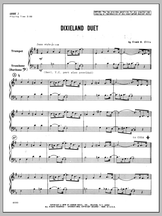 Dixieland Duet (COMPLETE) sheet music for trumpet and trombone by Ellis. Score Image Preview.
