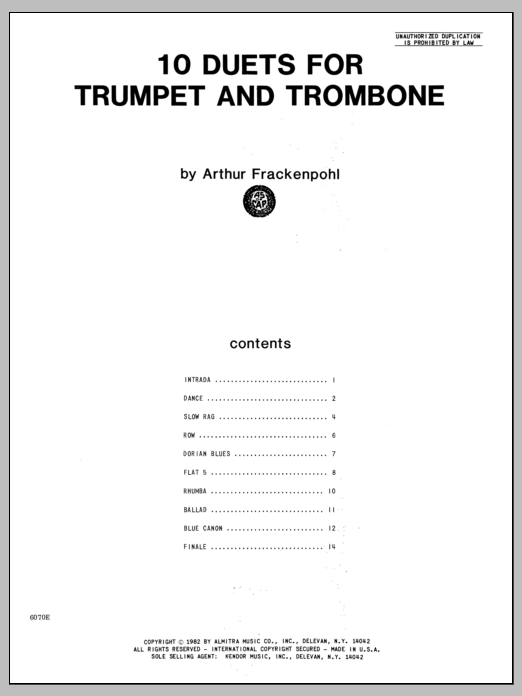 10 Duets For Trumpet And Trombone Sheet Music
