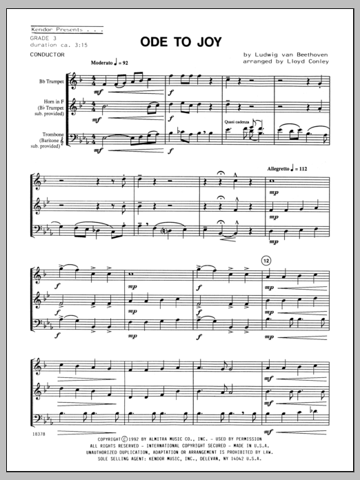 Ode To Joy (COMPLETE) sheet music for brass trio by Ludwig van Beethoven and Conley. Score Image Preview.