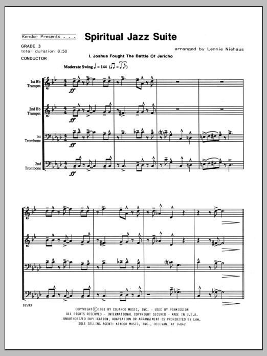 Spiritual Jazz Suite (COMPLETE) sheet music for brass quartet by Lennie Niehaus. Score Image Preview.