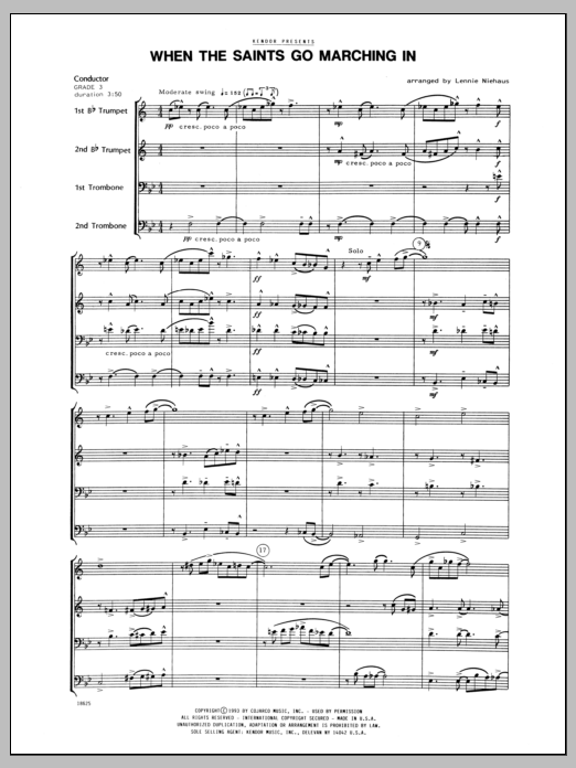 When the Saints Go Marching In (COMPLETE) sheet music for brass quartet by Lennie Niehaus. Score Image Preview.