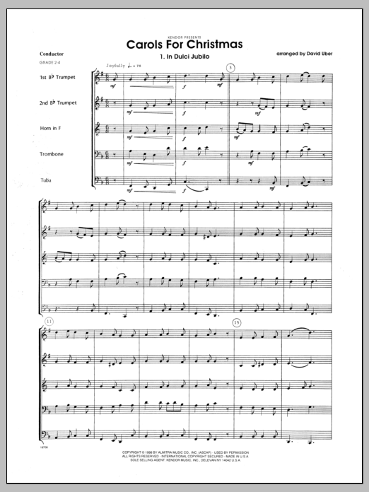 Carols for Christmas (COMPLETE) sheet music for brass quintet by Uber. Score Image Preview.