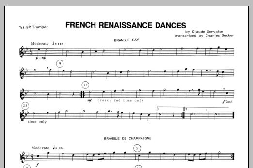 French Renaissance Dances - 1st Bb Trumpet Sheet Music