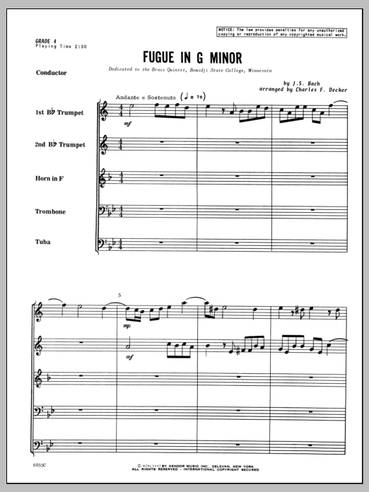 Fugue in G minor (COMPLETE) sheet music for brass quintet by Johann Sebastian Bach and Decker. Score Image Preview.