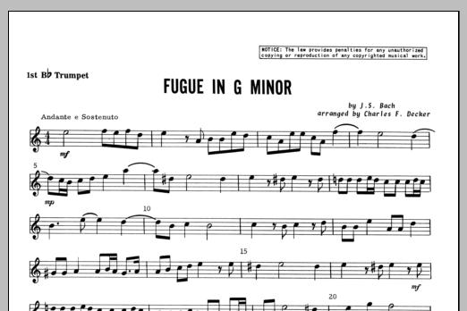 Fugue in G minor - 1st Bb Trumpet Sheet Music