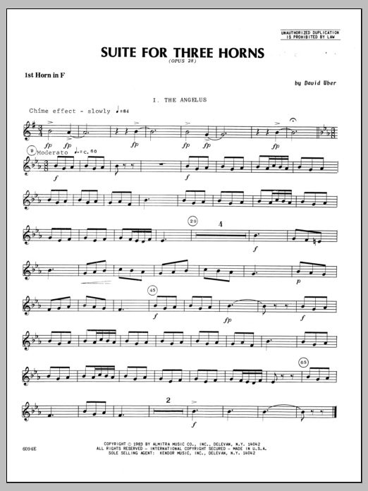 Suite For Three Horns (Opus 28) - 1st Horn in F Sheet Music